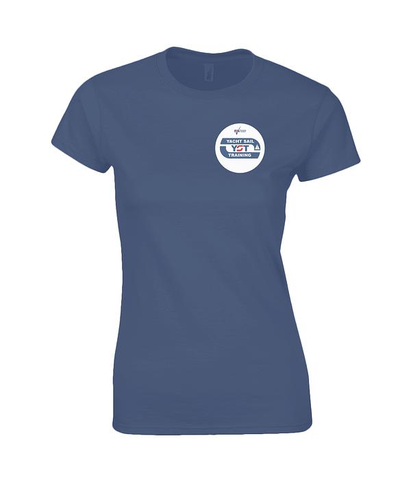 "Gildan Ladies Premium Cotton T-Shirt ""Take Steps To Be Free"" Yacht Sail Training"