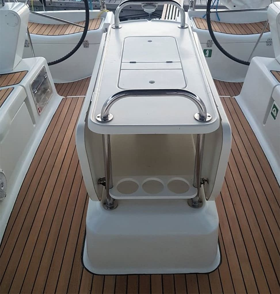 cockpit table and helms on our sun odyssey 49